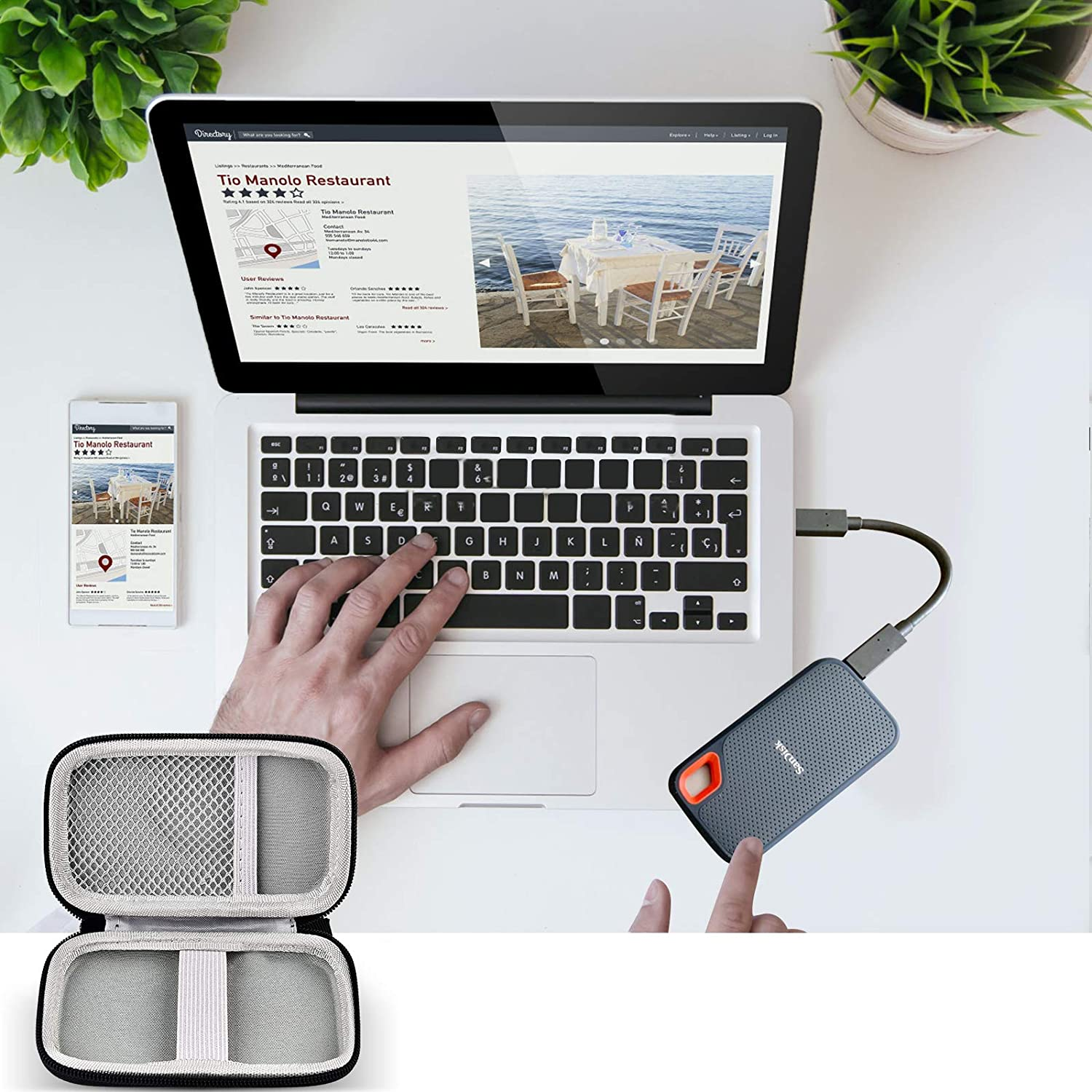 Box Only USB 3.2 Gen 2 Carrying Travel Holder for USB Cables. Hard Case Compatible with SanDisk 500GB// 1TB// 2TB Extreme Portable SSD USB-C Up to 1050MB//s External Solid State Drive