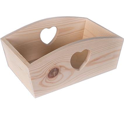 Tamaño grande de madera Plain corazón decorativo caja de almacenamiento, bandeja/Frutas Pan Decoupage