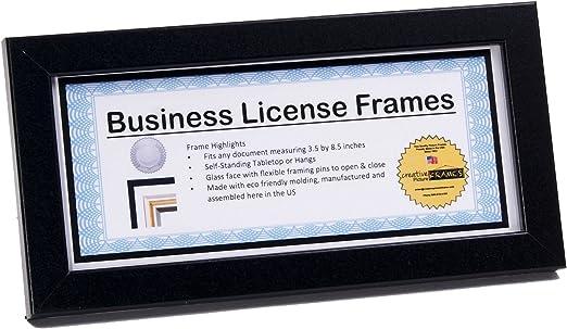 CreativePF 4x9bk Black Business License Certificate Frames Includes Self Stand