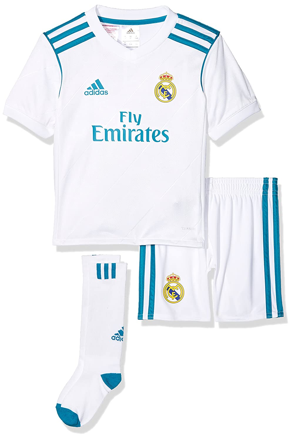 6bd1b7cf4 Real Madrid 17 18 Mini Kids Home Replica Football Kit - White ...