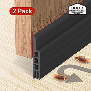 Holikme Door Draft Stopper 2 Pack Black 39-inch Under Door Draft Blocker Insulator Door Sweep Weather Stripping
