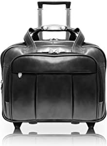 McKleinUSA Damen 80715 R Series Leather Detachable-Wheeled Laptop Case (Black)