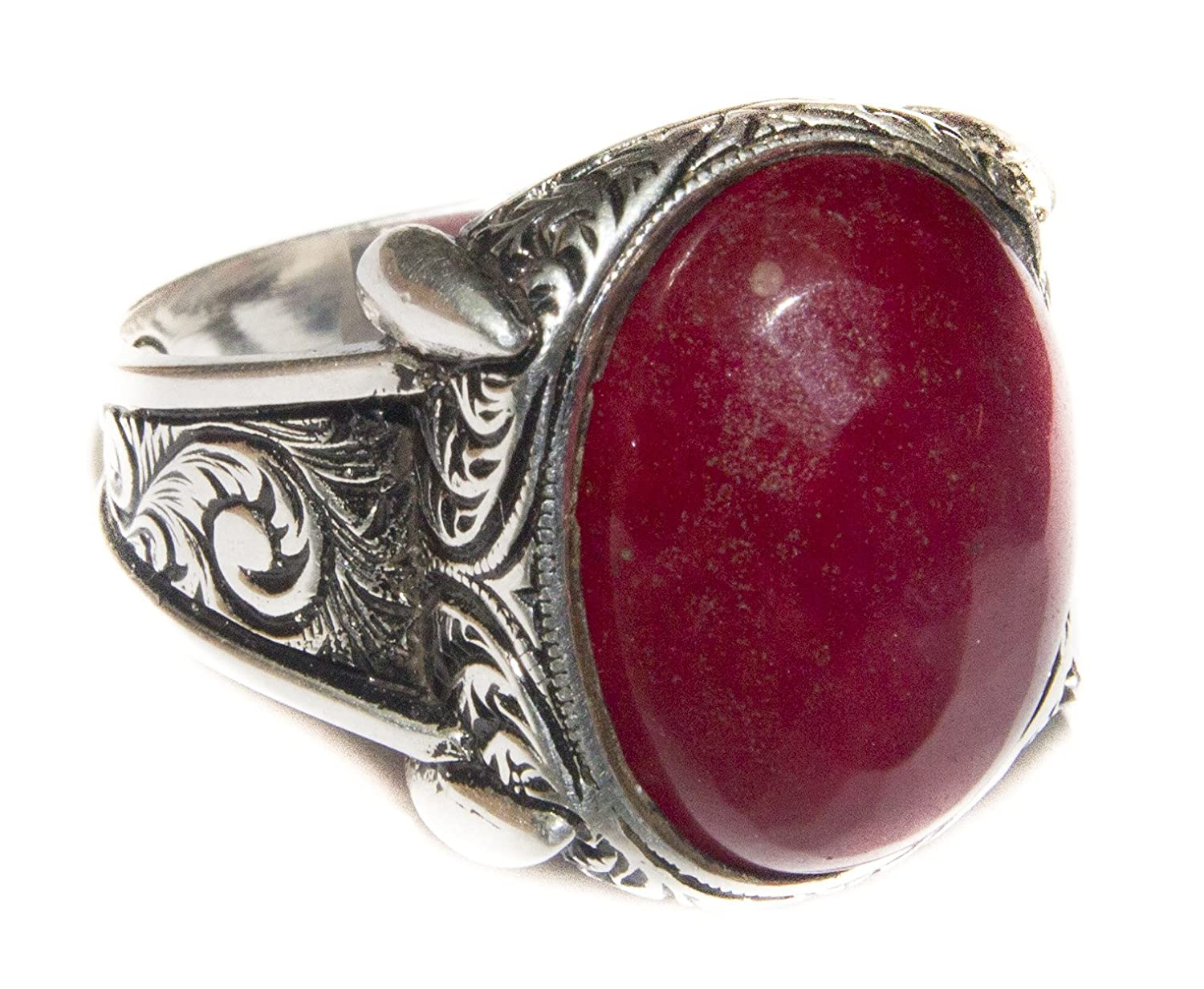 Falcon Jewelry Sterling Silver Men's Ring Handmade, Ruby Natural Gemstone, Express Shipping