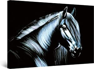 "Startonight Canvas Wall Art Decor Black Beauty Horse Painting for Living Room 32"" x 48"""