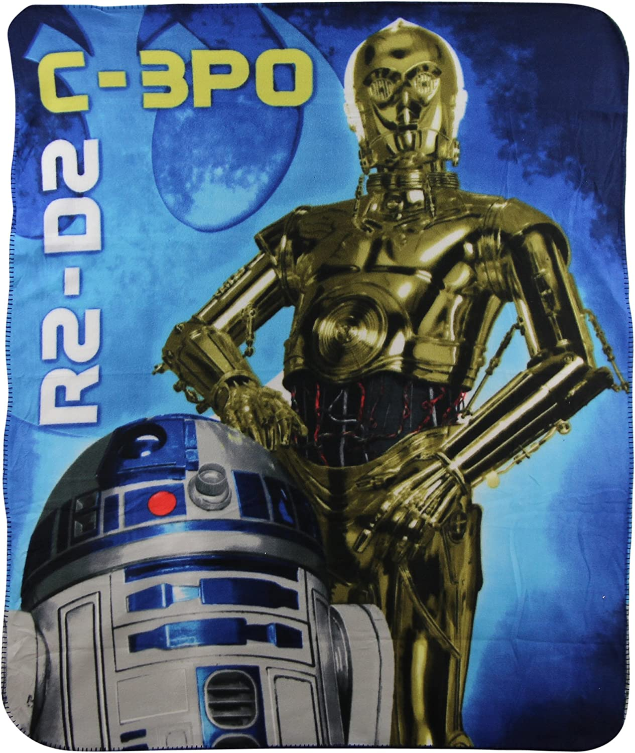 S.L. Home Fashions Star Wars C-3PO & R2-D2 Kids Character lightweight Fleece Throw Blanket