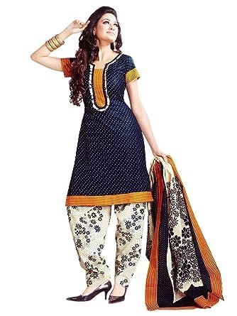 7f11d8ae48 Lady Loop Women's Cotton Salwar Suit (I480SECND19_TS_1_Blue_Free Size)
