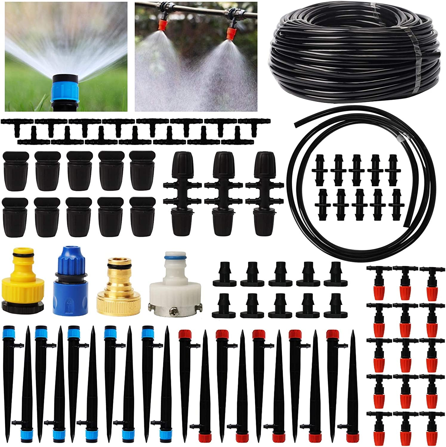 Lulu Home Irrigation System, 89 Pcs 138 FT Garden Irrigation System with Adjustable Nozzle Sprinkler Sprayer & Dripper Automatic Patio Plant Watering Kit Misting Cooling System for Greenhouse