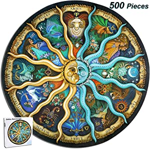 Hartop Paper Jigsaw Puzzles 500 Pieces for Adults, Scenery Landscape Jigsaw Puzzles, Entertainment DIY Toys for Creative Gift Home Decor (Zodiac Horoscope, Diameter 20 Inch)
