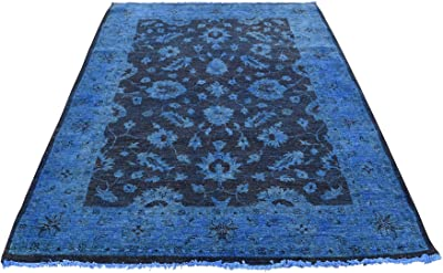 "Hand Knotted Denim Blue Cast Overdyed Peshawar Pure Wool Rug (4'1""x6'1"")"