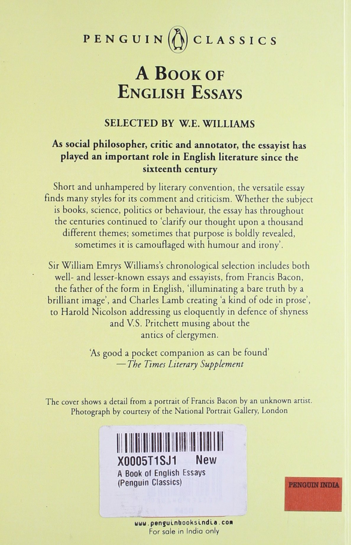 English Essays A Book Of Penguin English Library W E  English Essays A Book Of Penguin English Library W E Williams   Amazoncom Books