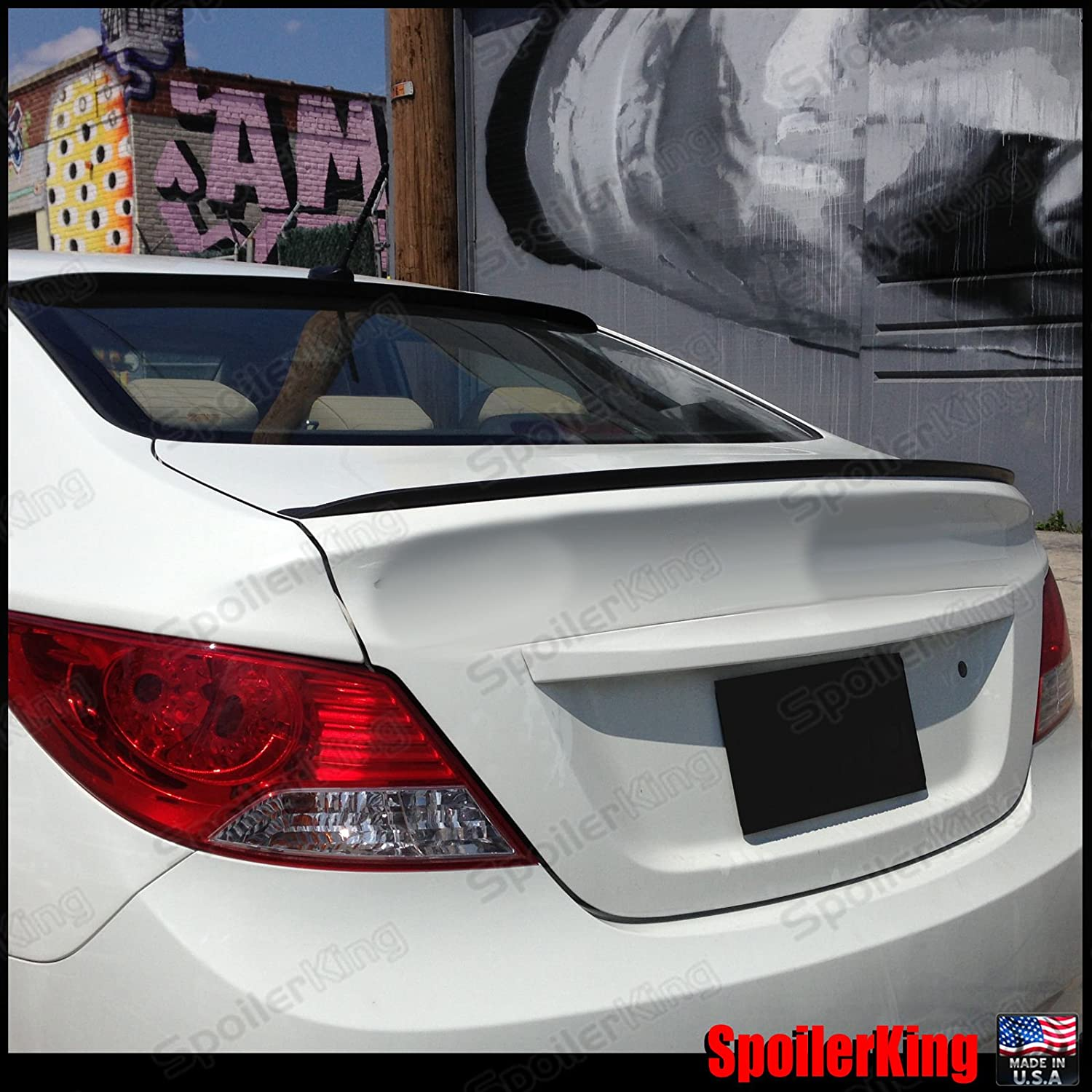 UNPAINTED REAR WING SPOILER FOR A HYUNDAI ACCENT FLUSH MOUNT 2012-2017