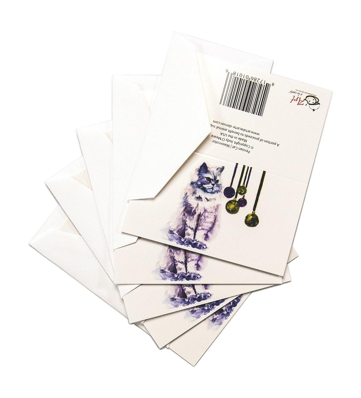 Rainbow Card Company 5-pack boite de Noël Cartes–Chat persan CC-106PC