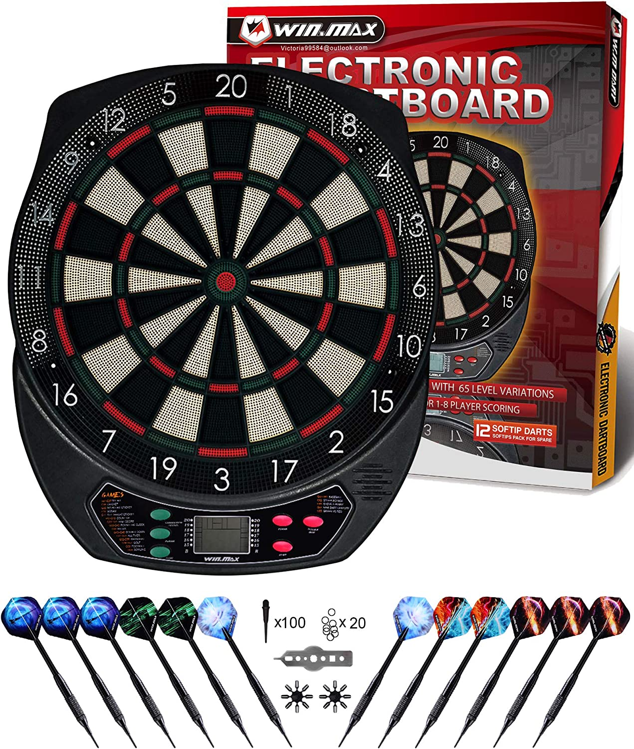 WIN.MAX Electronic Dart Board Soft Tip Dart Board Set