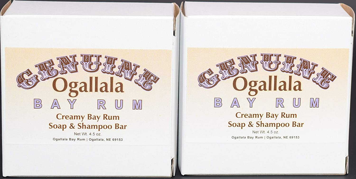 Two (2) Genuine Ogallala Bay Rum CREAMY Bay Rum Bath Soap/Shampoo - 4.5 oz each.