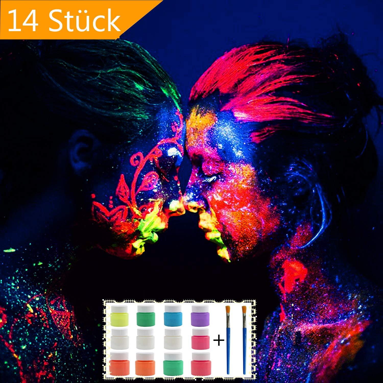 AOLVO UV-Bodypainting Körperfarben Schwarzlicht | 12 X 25 ML Bodypaint Neon Farbe + 2 Bürste für Body und Facepainting | Fluoreszierende Farben Im Schminkset für Knalligen Glow-Effekt