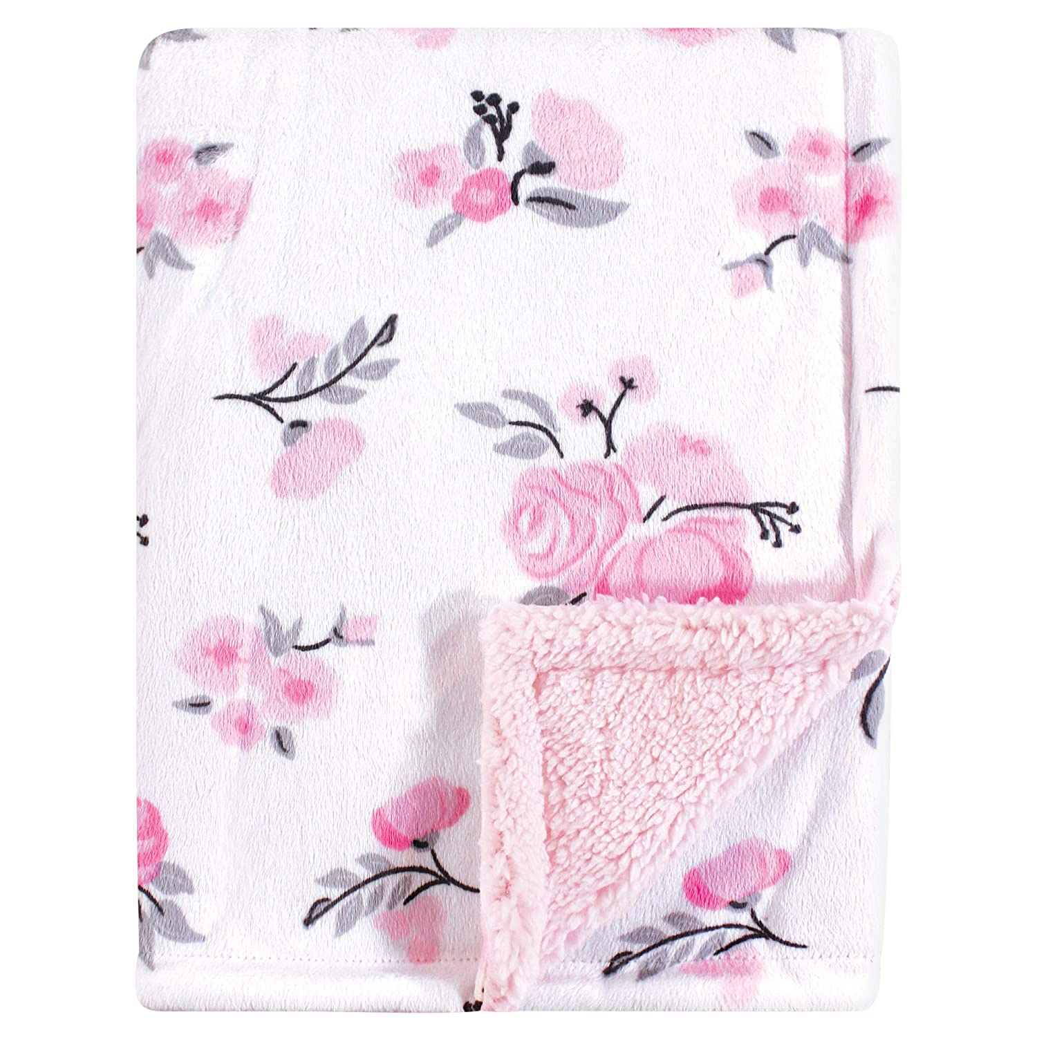 Hudson Baby Mink Blanket with Sherpa Backing, Pink Floral, One Size BabyVision Inc. Children' s Apparel 52219