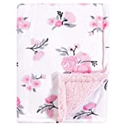 Hudson Baby Mink Blanket with Sherpa Backing, Pink Floral, One Size