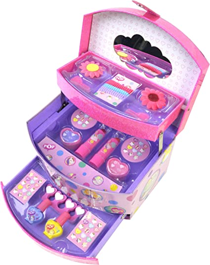POP GIRL Beauty Vanity Case - Bolso, Maletín y Joyero 3 en 1 con Kit de Maquillaje - Set de Maquillaje para Niñas - Juguetes Niñas - Selección de Productos Seguros: Amazon.es: Belleza