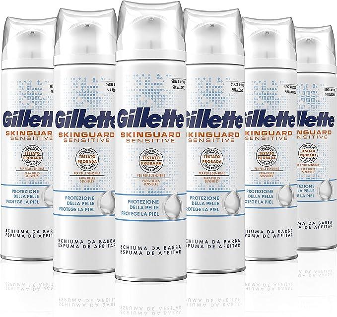 Gillette SkinGuard Espuma de Afeitar para Piel Sensible 250 ml - Pack de 6: Amazon.es: Salud y cuidado personal