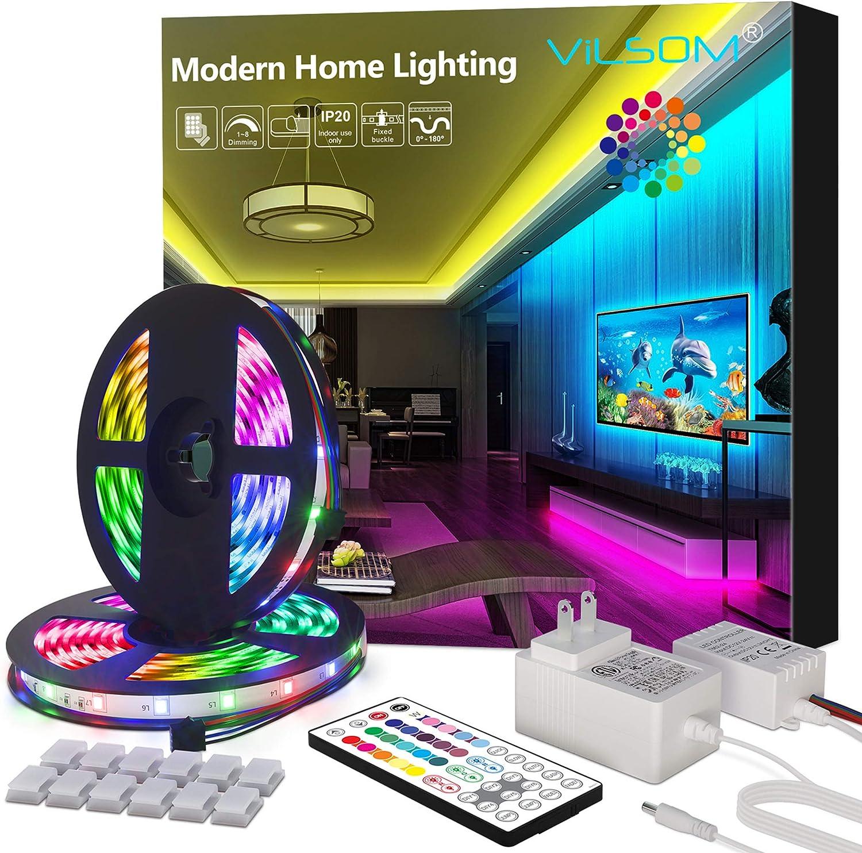 ViLSOM Led Strip Lights 32.8 Feet with 44Keys Remote Color Changing Led Lights for Bedroom, Room, Kitchen and Christmas Decorations, RGB SMD 2835 Led Lights (2 Rolls of 16.4 Feet)