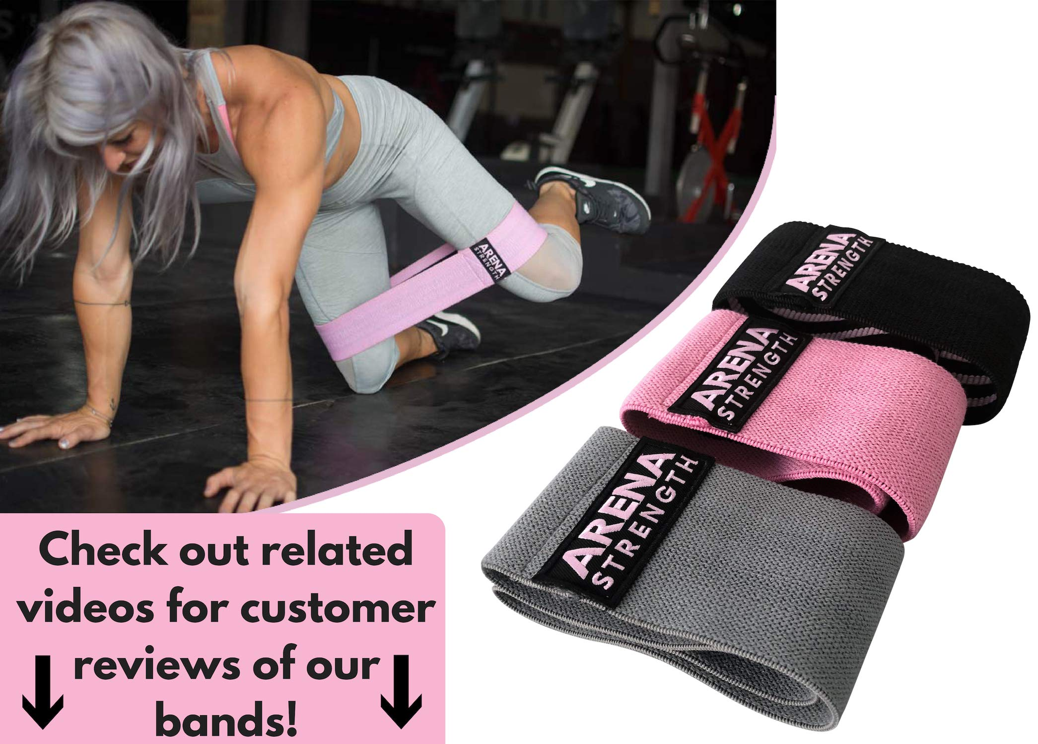 Arena Strength Booty Fabric Bands: Fabric Resistance Bands for Legs and Butt: 3 Pack Set. Perfect Workout Hip Band Resistance. Workout Program and Carry Case Included by Arena Strength (Image #6)