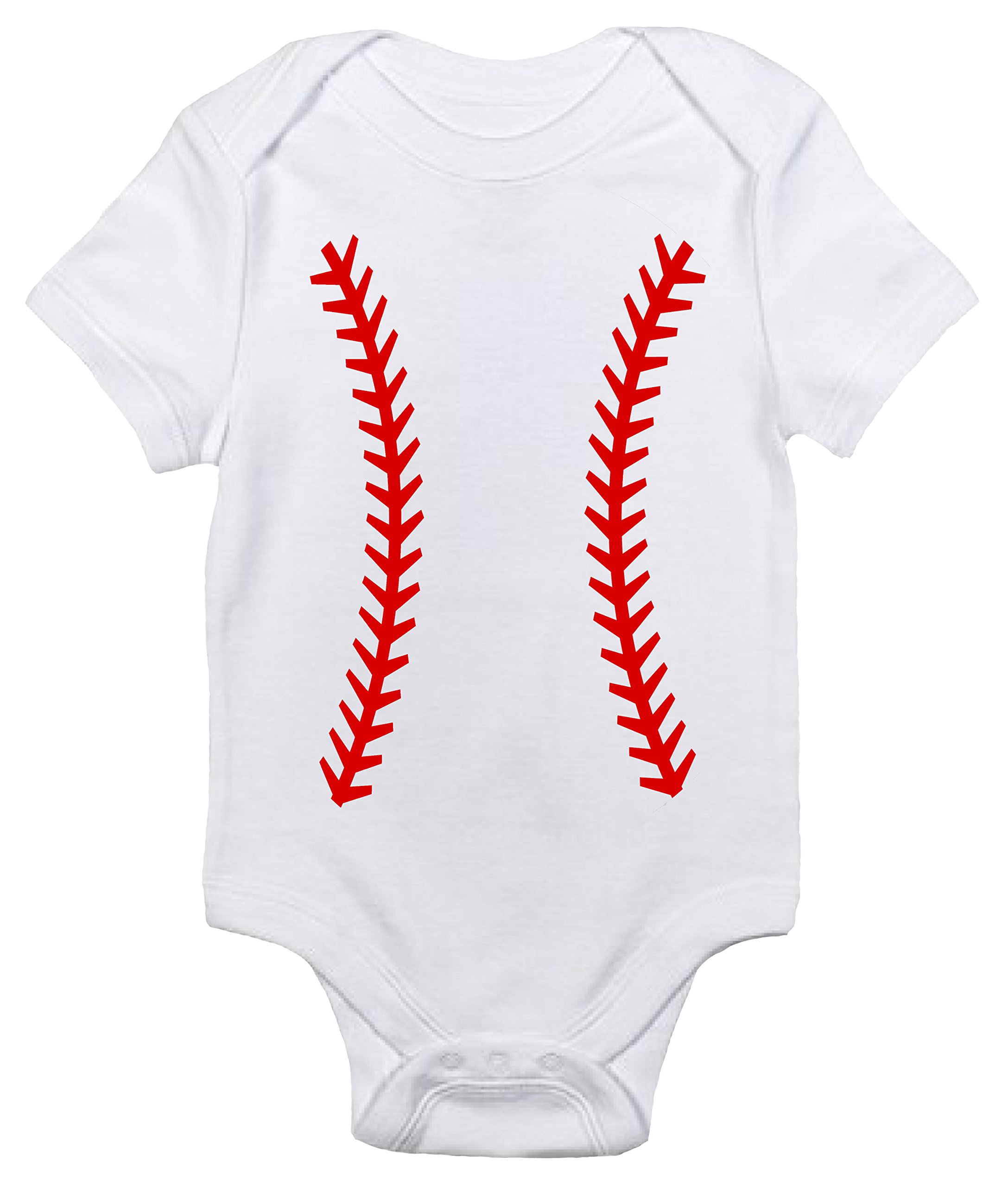 Laughing Giraffe Baseball Custom Personalized One-piece Baby Bodysuit With Your Name and Number (6-12 Months)
