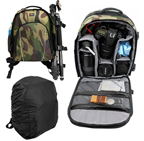 Amazon.com: Camouflage Print, Water-Resistant DSLR Camera Rucksack ...