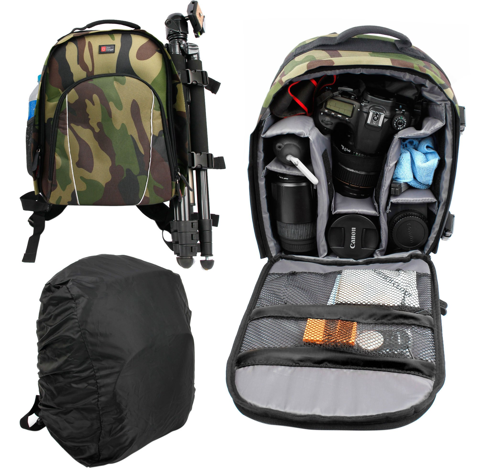 DURAGADGET Camouflage Water-Resistant Backpack with Customizable Interior & Raincover For Celestron ECLIPSMART 10X25 SOLAR