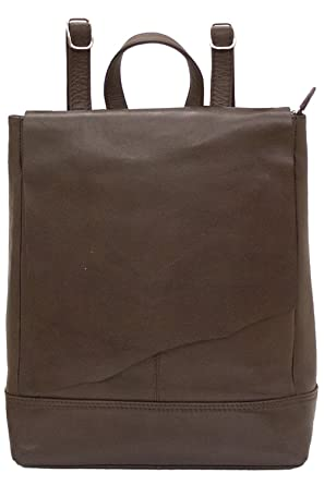 b16d7079220e Amazon.com: ili 6501 Leather Raw Edge Backpack Handbag (Walnut ...