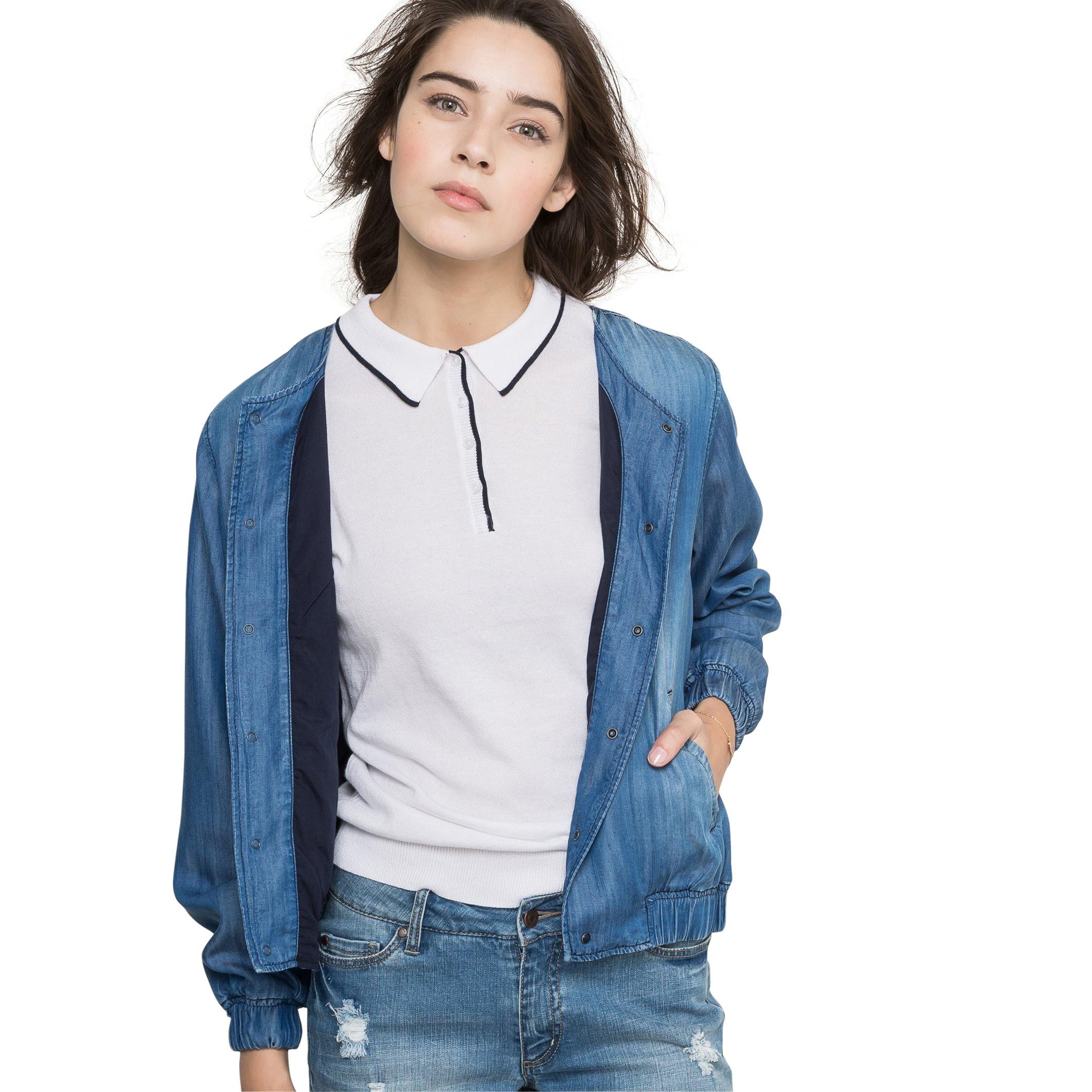 Cimarron Womens Denim Look Bomber Jacket Blue Size S
