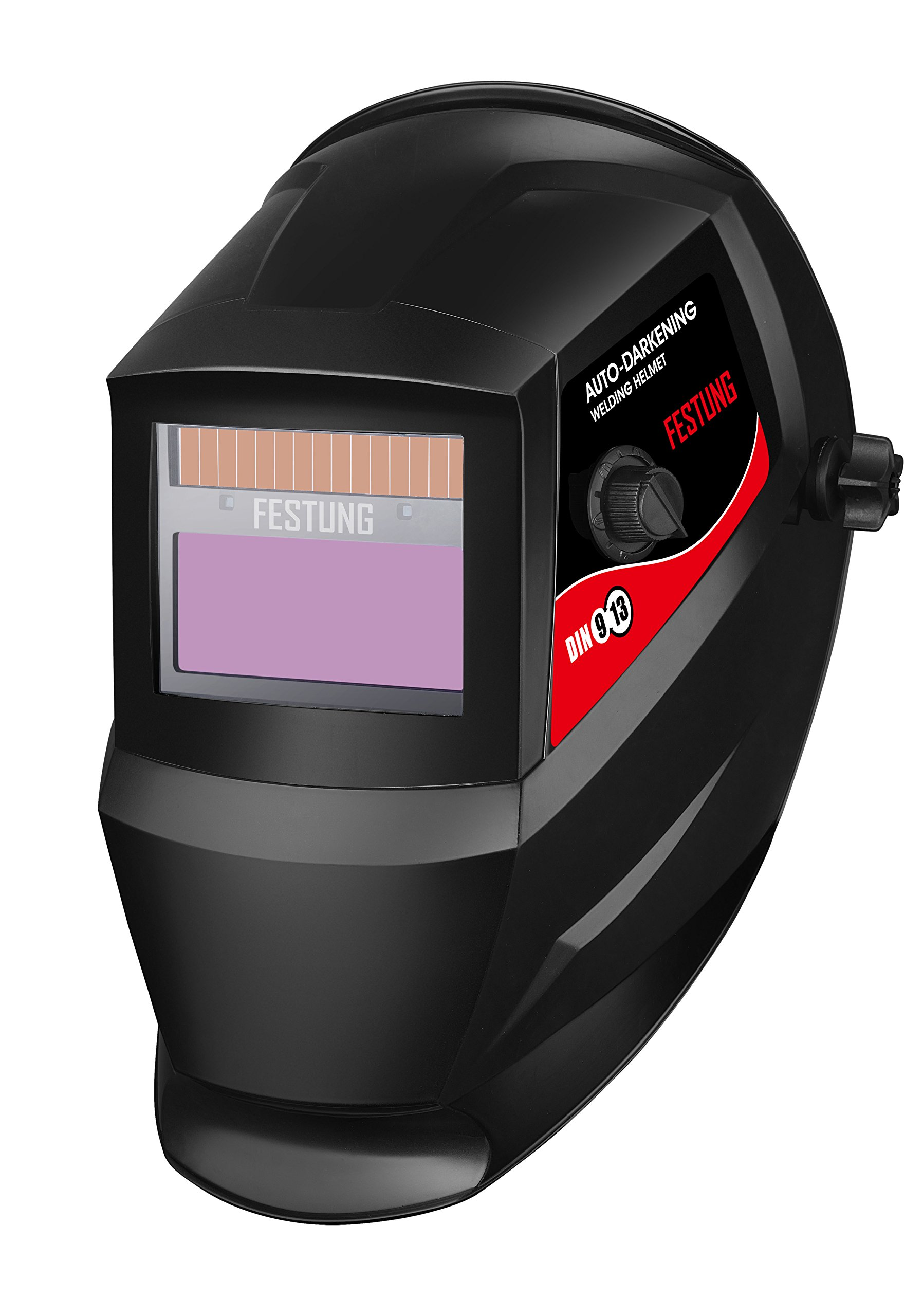 KOOLWOOM Solar Power Auto Darkening Welding Helmet LUXE designed with 2 Arc Sensors & Two Shade Ranges 5-8/9-13 with Grinding Feature Extra lens covers Good for TIG MIG MMA Plasma