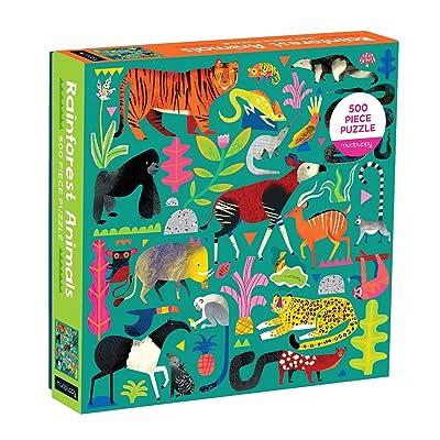 Mudpuppy Rainforest Animals 500 Piece Family Jigsaw Puzzle, Vibrant Rainforest and Animal Puzzle with Tiger, Gorilla, and More Beloved Animals: Toys & Games [5Bkhe0504791]