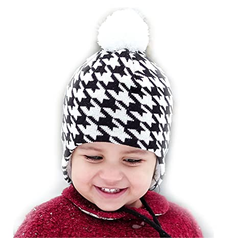 Bonnet tricot pour bébés confortable pour Automne Hiver, Cache Oreille  Mentonnière Entièrement Doublé ( cc08e5629cc