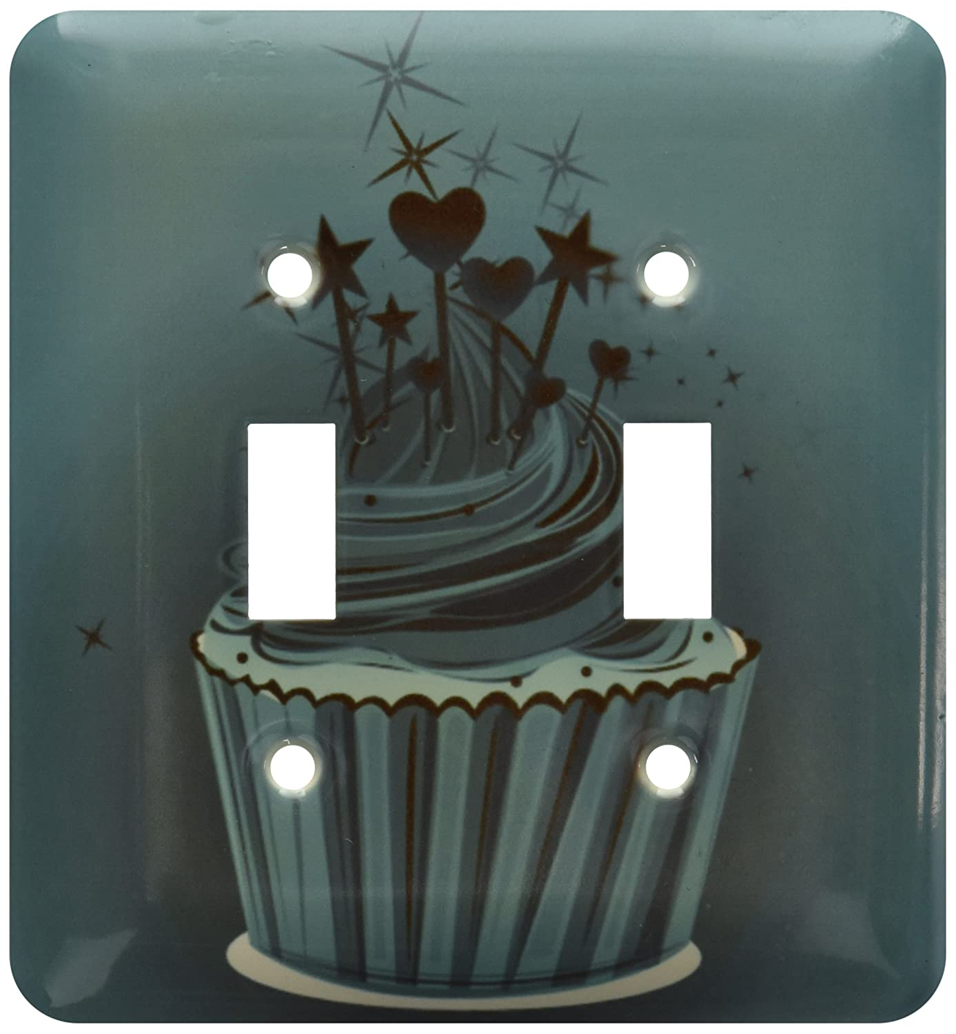 3dRose LSP/_111595/_2A Cute Turquoise Cupcake with Rainbow Candles Double Toggle Switch Multicolor
