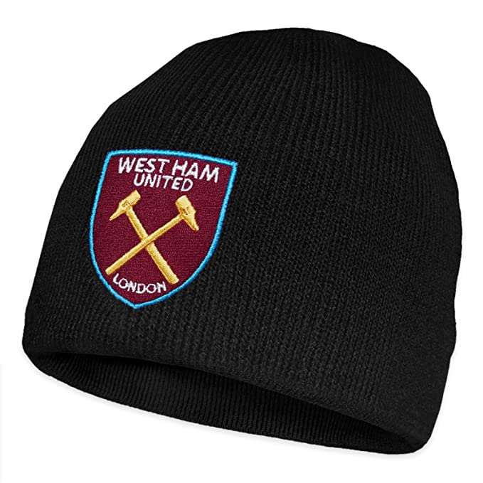 d4ac8b4e003ac West Ham United FC Official Football Gift Knitted Beanie Hat Black   Amazon.co.uk  Clothing