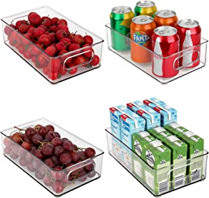 JuneHeart Refrigerator Organizer Bins, Set of 4 Fridge Storage Bins with Handles for Freezer, Kitchen, Countertop and Cabinets Pantry Food Storage-Clear Plastic Organizer Bins