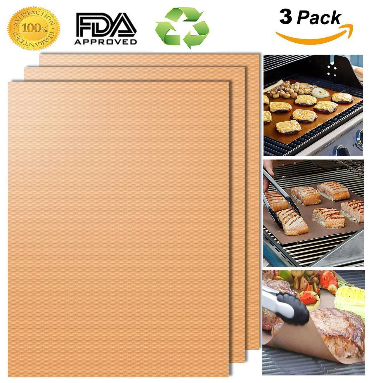 Hiistaring Grill Trays, Set of 3 – 100% Non-Stick BBQ Grill and Baking Mats – FDA Approved, PFOA Free, Reusable and easy to clean – works on, Charcoal, Electric BBQ Grill and more – 1/2 x 13