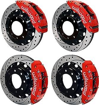 FRONT+REAR KIT Ceramic Pads C1408 Black Hart *DRILLED /& SLOTTED* Brake Rotors