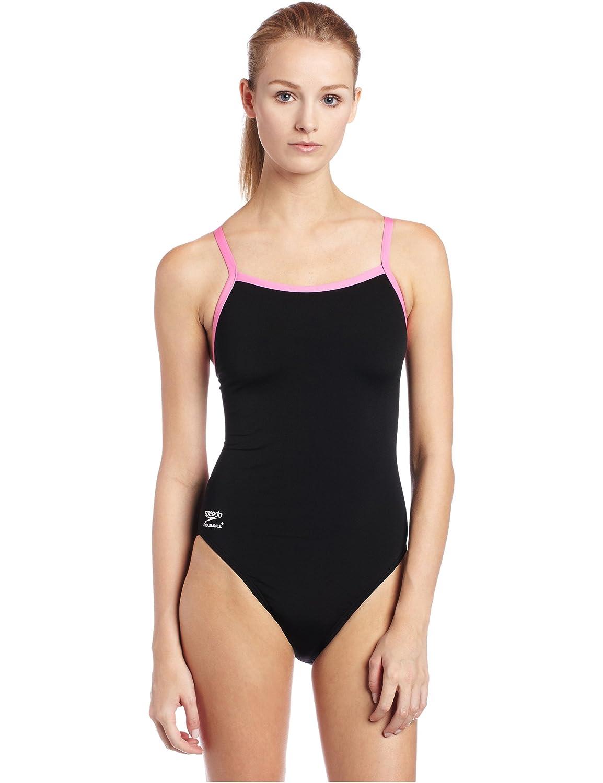 Black Pink Speedo Big Girls' Race Endurance+ Polyester Flyback Training Swimsuit