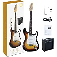 CB SKY ST Full-Size 39 Inch Electric Guitar Sunbrust with 5W Amplifier, Strap, String, Cable and Pick