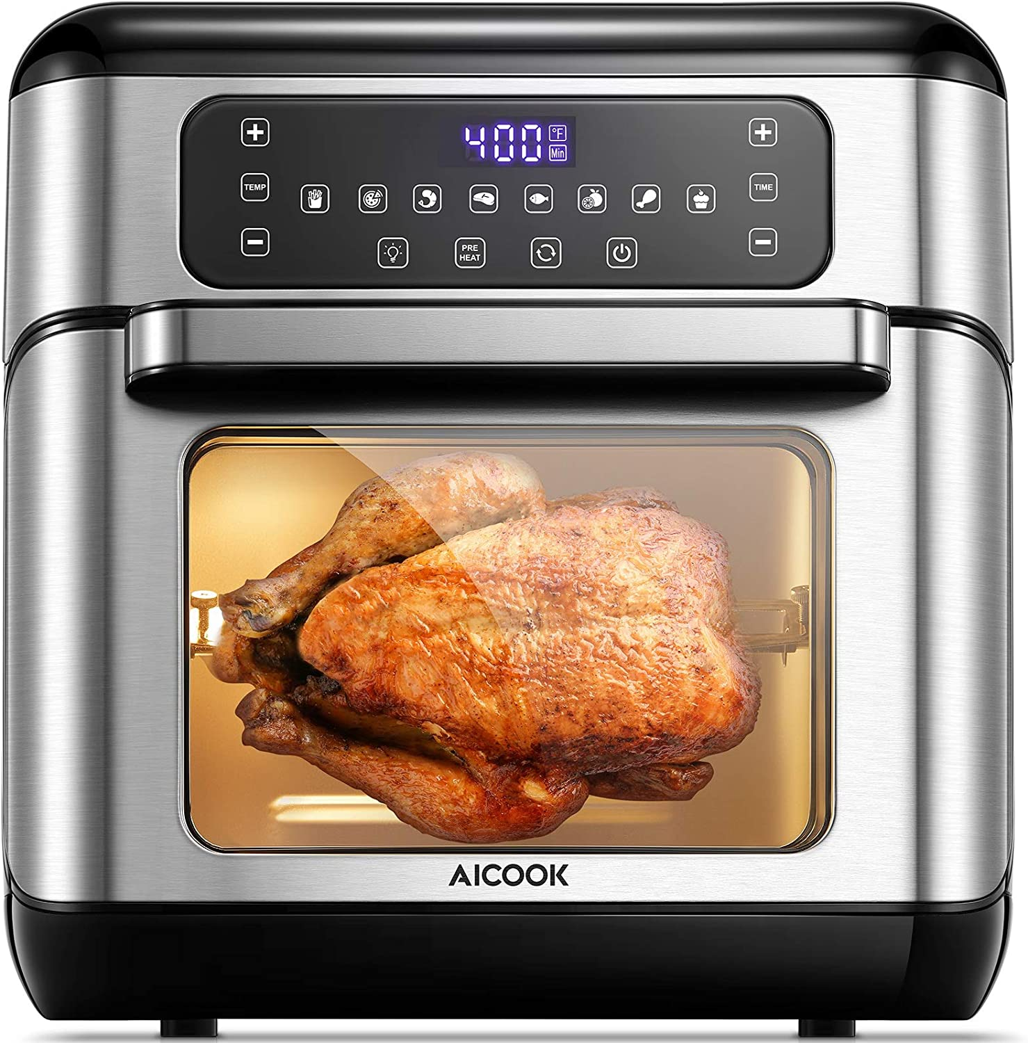 AICOOK 11Quart Air Fryer,Air Oven,1500W Rotisserie Oven,With One-button Digital Control,Precise Temperature Control,Air Fry Oil-Free,Nonstick, Accessories & Cookbook Included