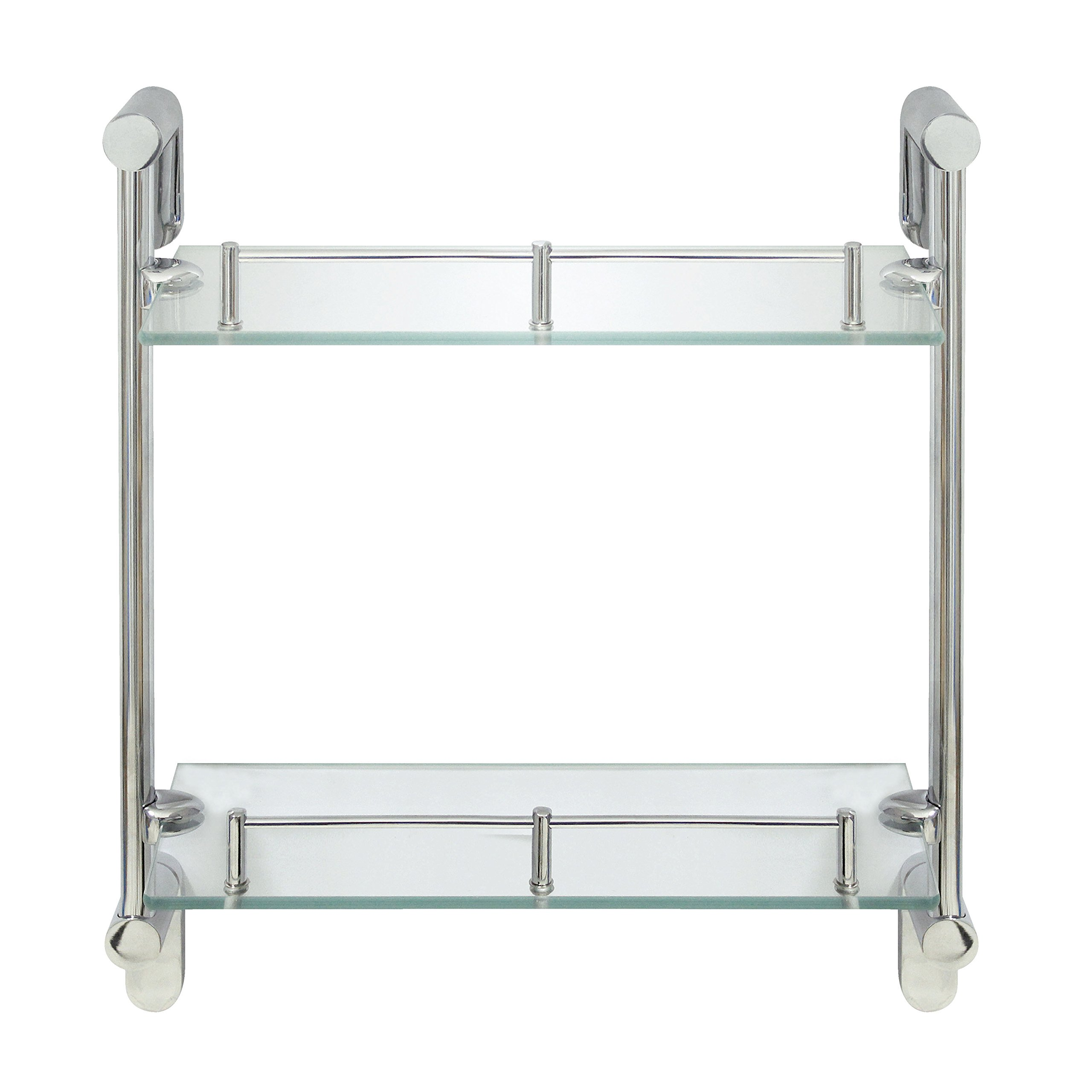 MODONA Double Wall Glass Shelf with Pre-installed Rail - POLISHED CHROME - Oval Series - 5 Year Warrantee by MODONA