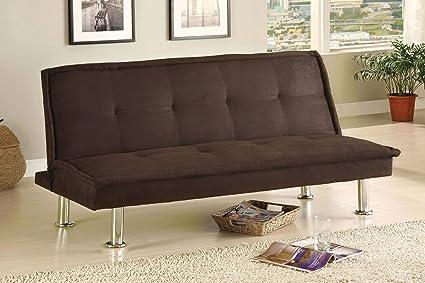 Surprising Furniture Of America Neela Modern Microfiber Futon Sofa Espresso Evergreenethics Interior Chair Design Evergreenethicsorg