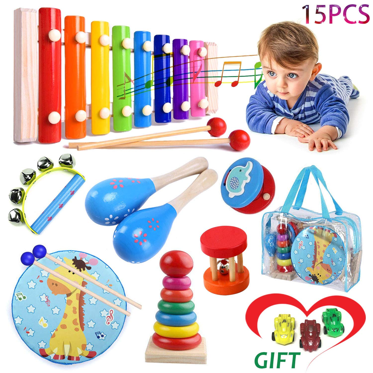Kids Musical Percussion Instruments Set Wooden Musical Toys For Toddlers 6-12 months Babies Rhythm Instruments 1 2 3 4 5 6 Years Old Xylophone Children Educational Musical Gift With 3 Mini Sports Cars