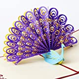 Paper Spiritz Peacock Pop up Father's Day card from Duaghter Wife Son 3D Thank You card Kids Birthday Greeting card with Envelope Laser Cut Kirigami Papercraft Gift Mother's Day Graduation