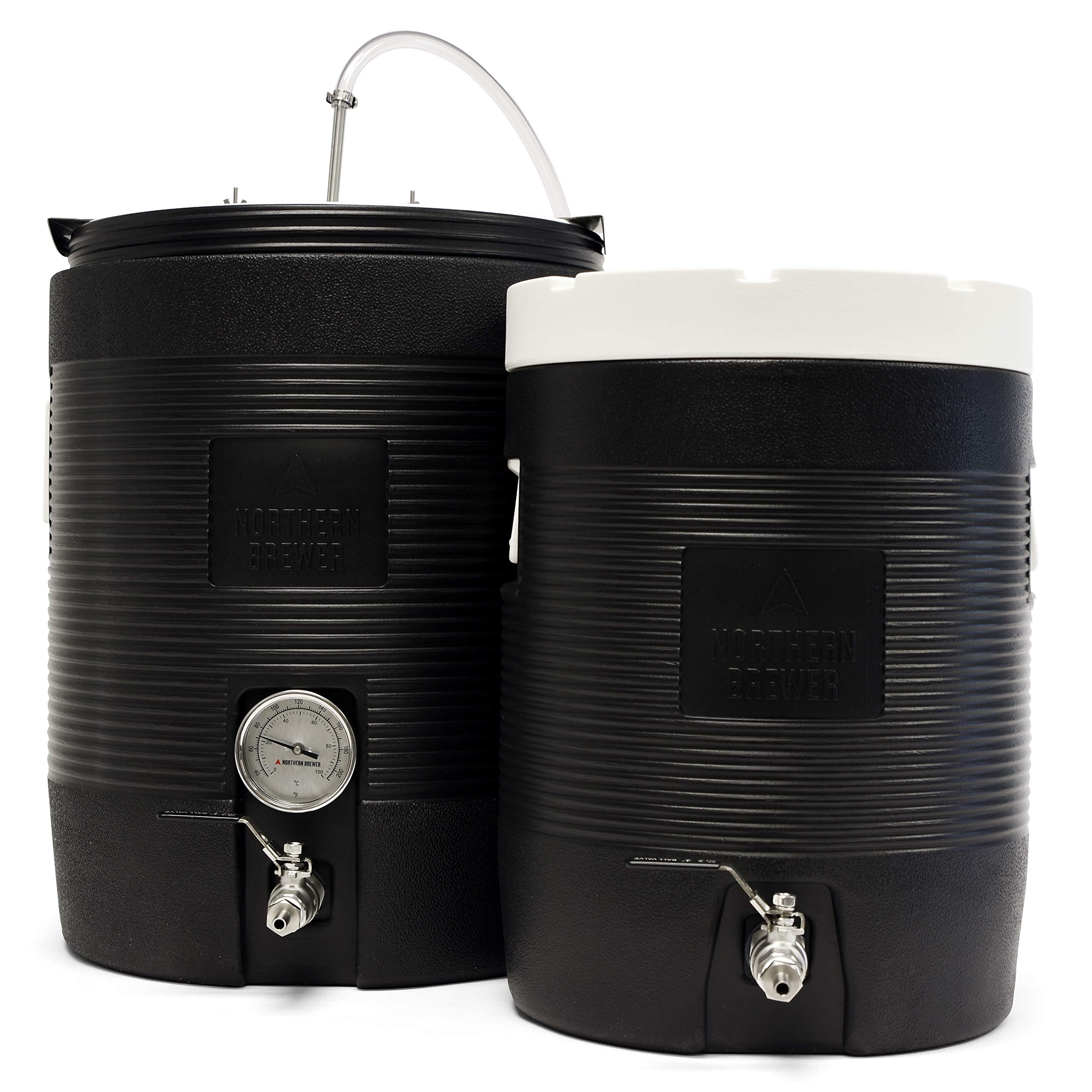 Northern Brewer - Insulated Cooler All Grain Starter Kit Including 12 Gallon Mash Tun with Thermometer, Nested Hot Liquor Tank, Sparge Arm, Tubing, Titan False Bottom, All Stainless Steel Fittings