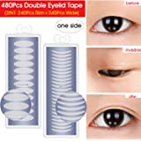 480PCS Invisible Single Side Fiber Double Eyelid Tape Stickers Perfect for Hooded, Droopy, Uneven, small eyes, or Mono-eyelids, 240PCS Slim + 240PCS Wide