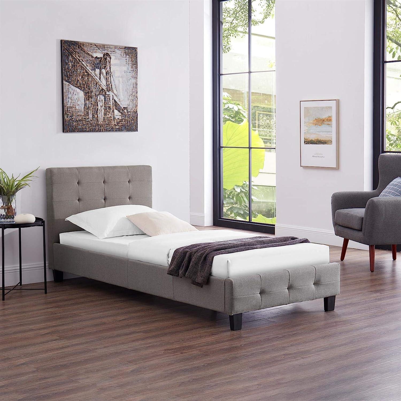 CARO-M/öbel Polsterbett Ohio Bettgestell 90 x 200 cm Einzelbett Designbett inklusive Lattenrost Textilbezug in grau