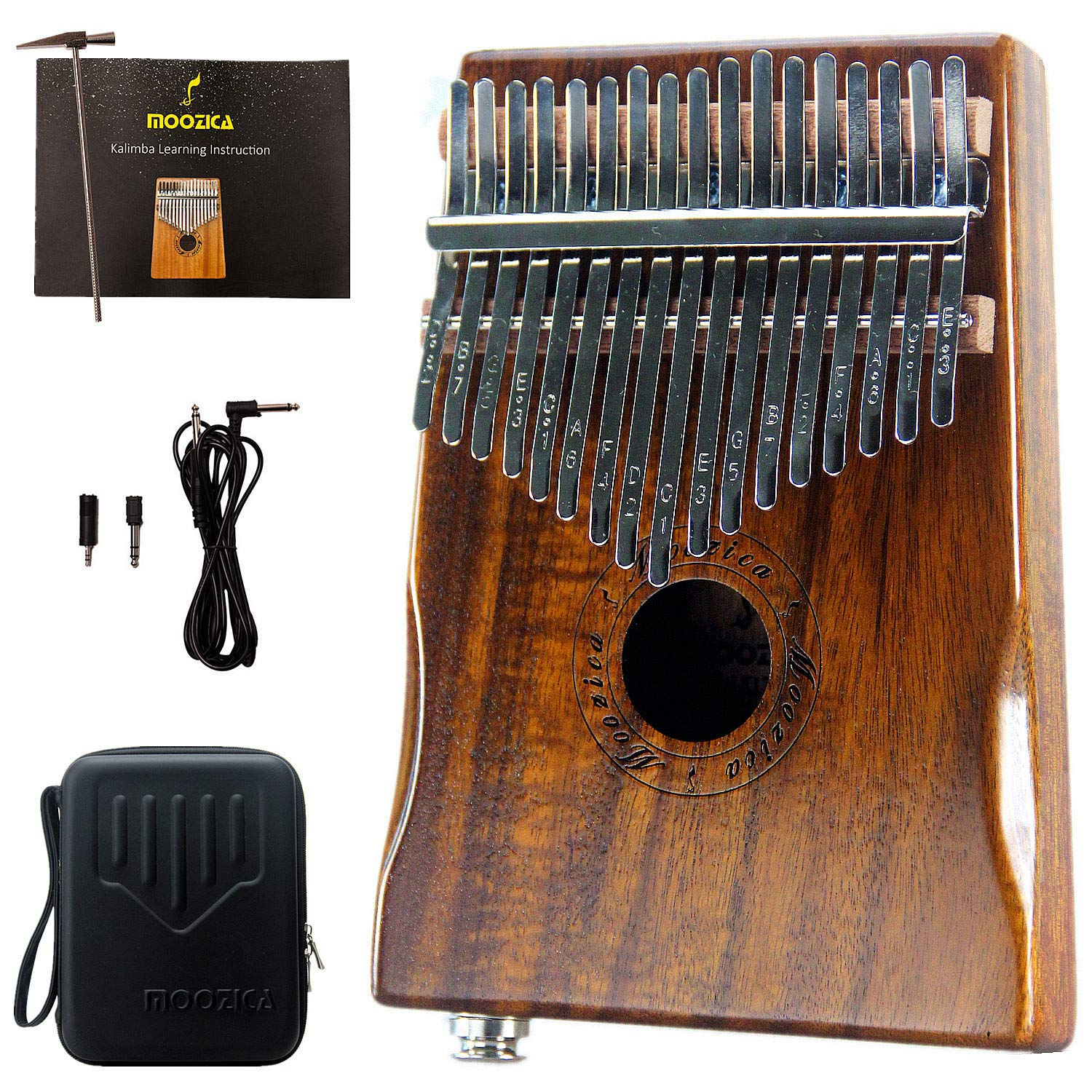 Moozica 17-Key EQ Kalimba, Koa Tone Wood Electric Finger Thumb Piano Built-in Pickup With 6.35mm Audio Interface and Professional Kalimba Bag by Moozica