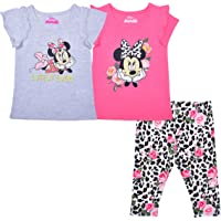 Disney Girl's 3 Pack Minnie Mouse Short Sleeves Tee Shirts and Leggings Set for Kids